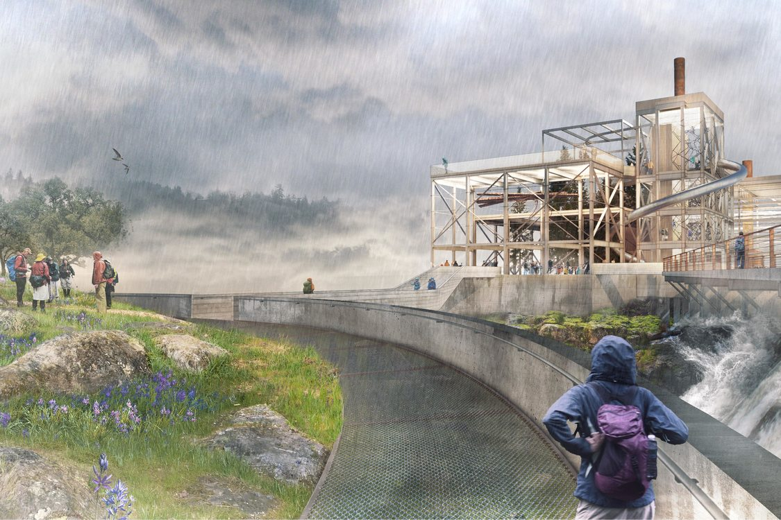rendering of Willamette Falls trail