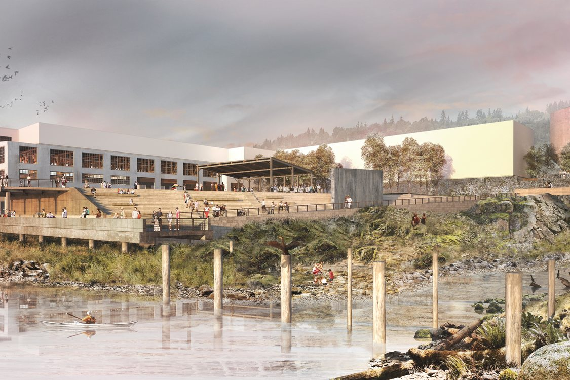 rendering of Willamette Falls public yard and alcove
