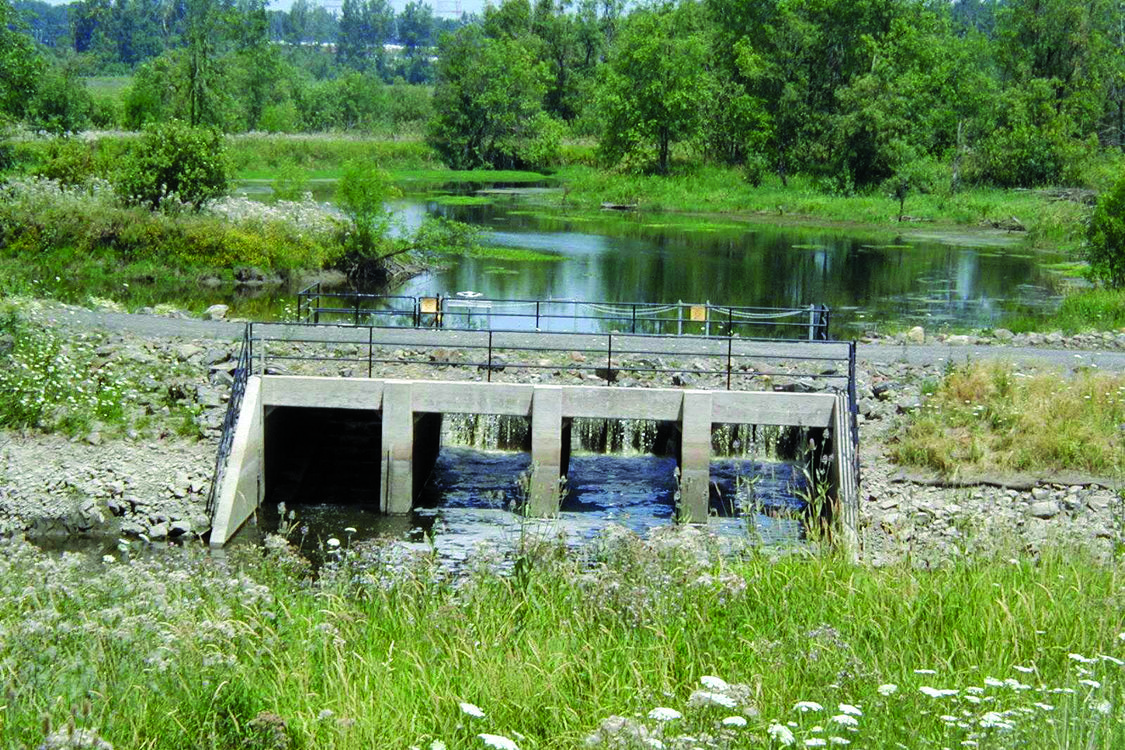 photo of water control structure at Smith and Bybee Wetlands Natural Area
