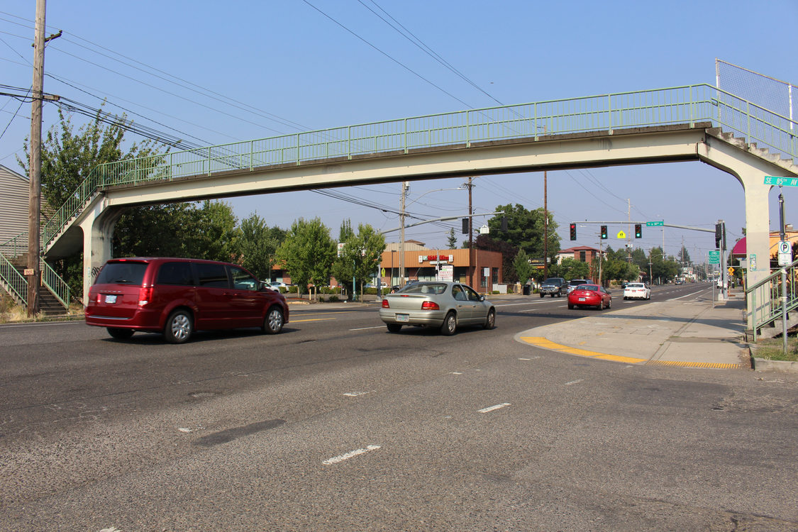 pedestrian overpass bridge at Southeast Division Street and 85th Avenue in the Jade District