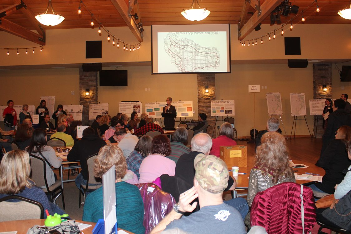 photo of open house about Troutdale trail