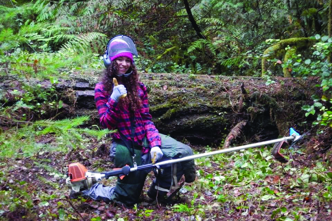 photo of Shae Bedford working on a trail at Oxbow Regional Park
