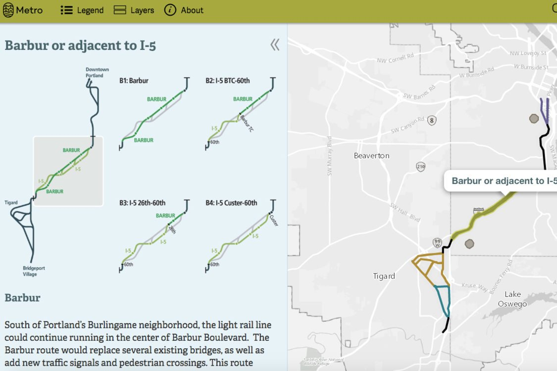 screenshot of interactive online map of Southwest Corridor route options