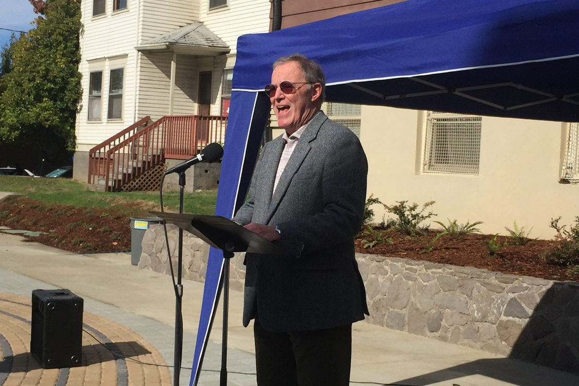 photo of Bob Stacey at grand opening of Francis and Clare Commons