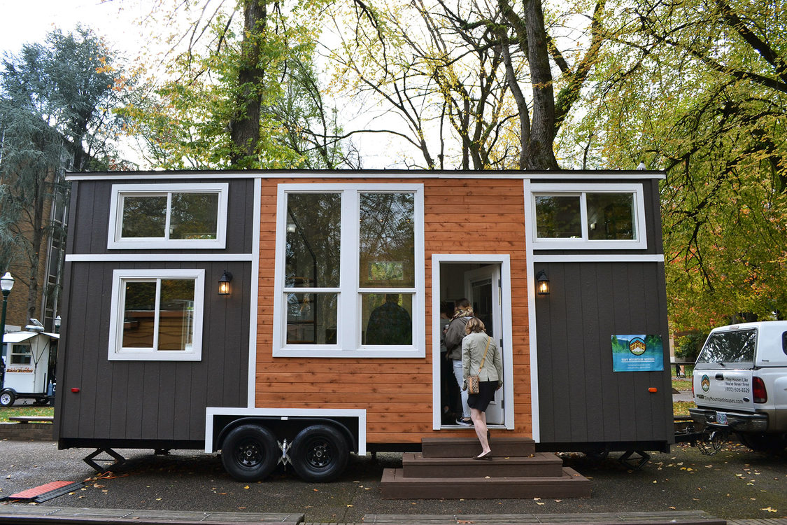 A tiny home on display during a conference in early November at Portland State University
