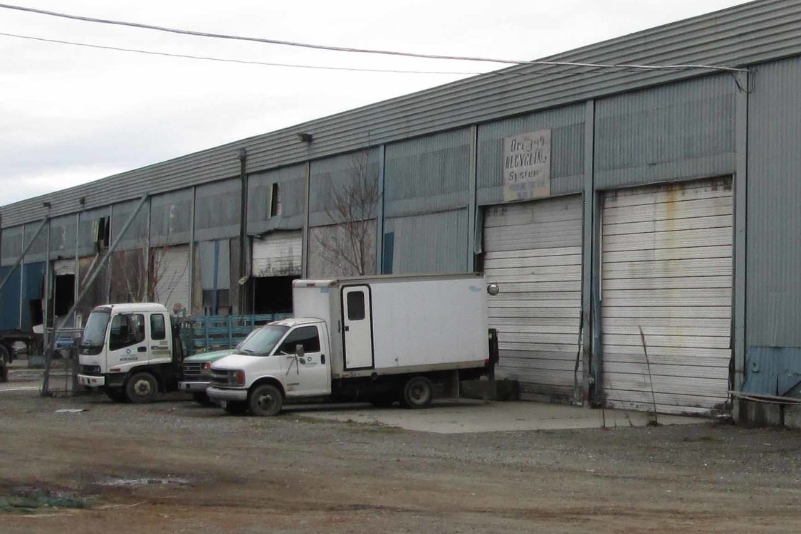 trucks and loading bays at CORE Recycling in northeast Portland