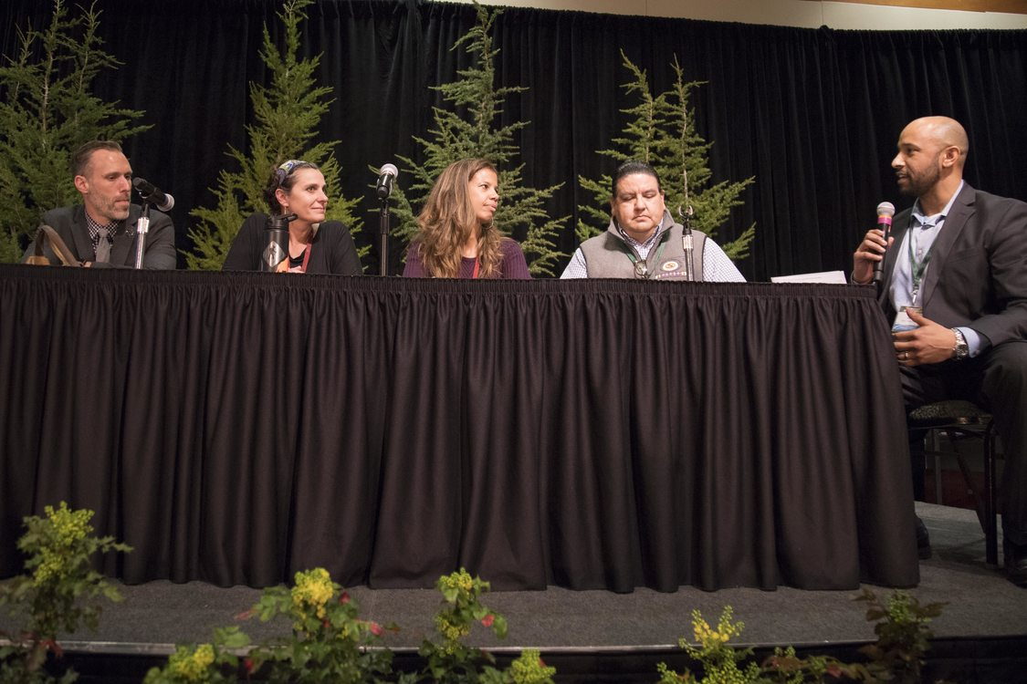 Jon Blasher, Metro's Parks and Nature Department director, leads a discussion with Kristopher Eilliot, Shanti Hodges, Tricia Tillman and Chuck Sams.
