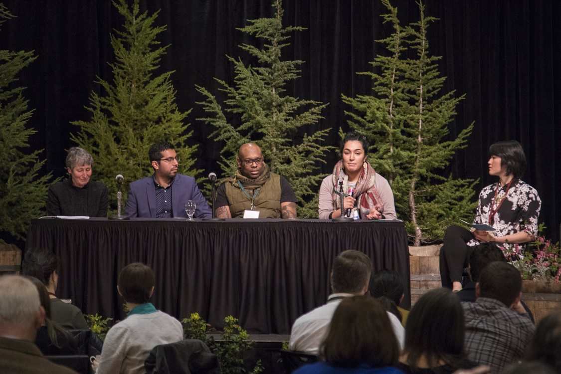 Punneh Abdolhosseini, a nature educator at Metro, discusses her work teaching children, particularly children of color, about nature. She is joined, from left to right, by Sally Jewel, Jorge Guzman, Chad Brown and Ellen Wyoming.