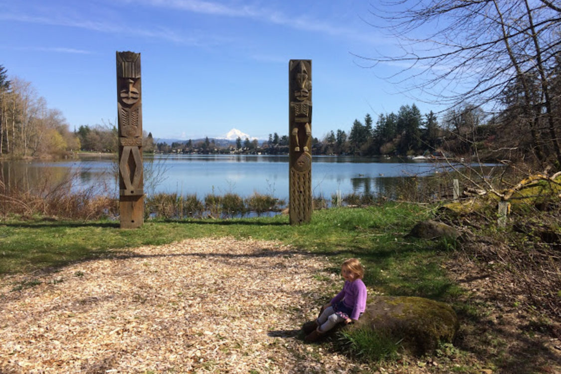 photo of Nichaqwli monument and girl at Blue Lake Regional Park