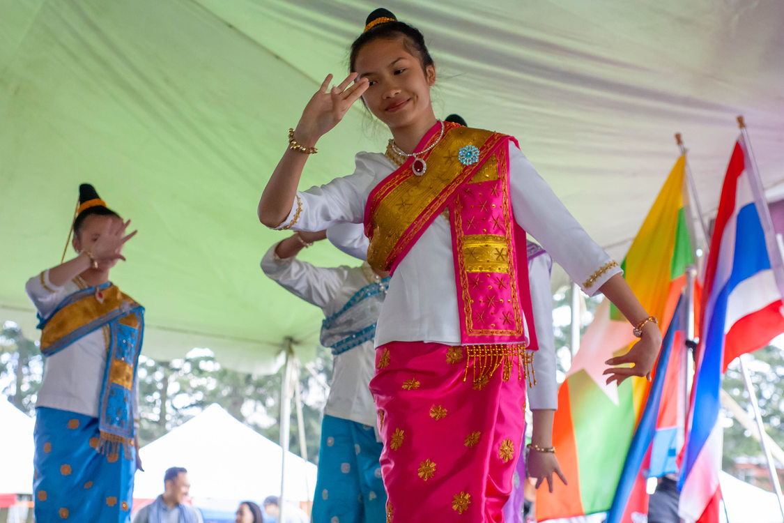 A dance troupe performs for the Southeast Asian new year