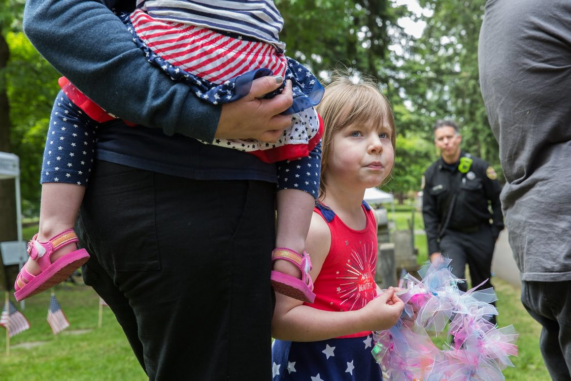 Family at Lone Fir Cemetery on Memorial Day