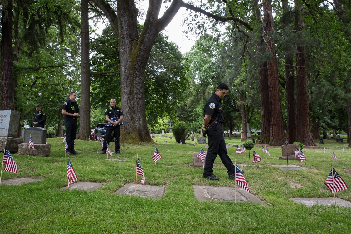Firemen at Lone Fir Cemetery on Memorial Day