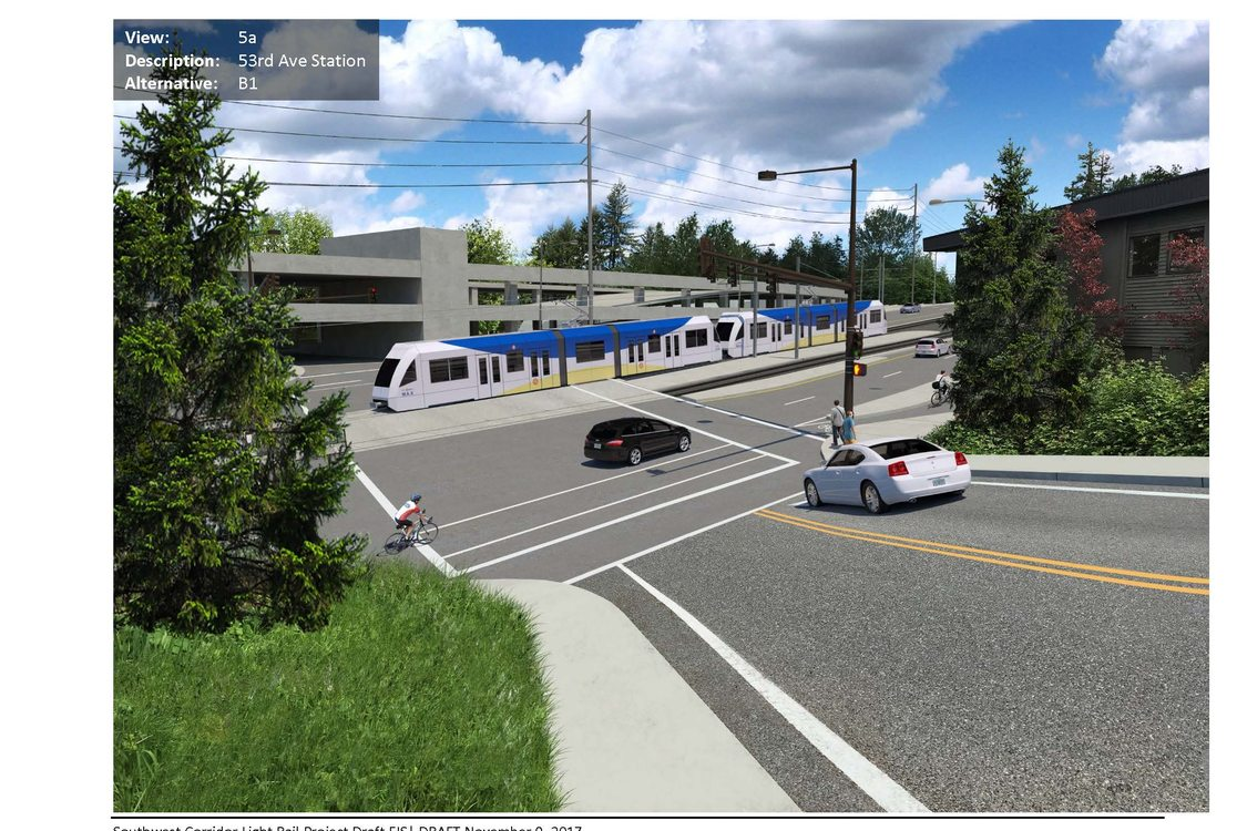 A computer-simulated image of Southwest 53rd Avenue with a light rail station and a train in the background.