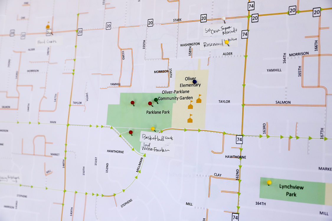 A close-up of a map of the Rosewood neighborhood