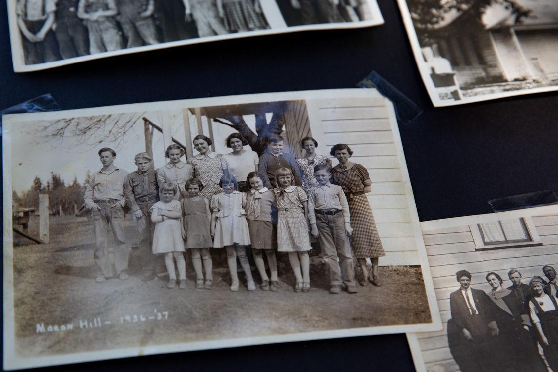Archival photo of Mason Hill School students, 1936-37