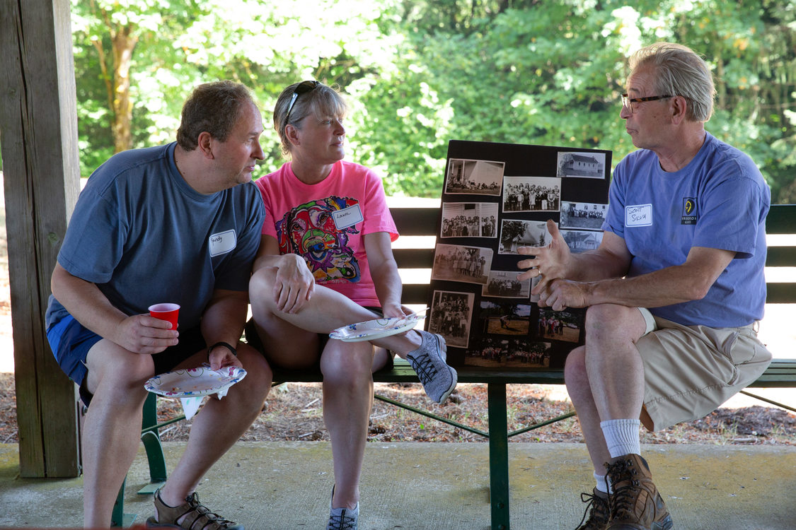 Neighbors catching up at the 65th annual Mason Hill Community Picnic