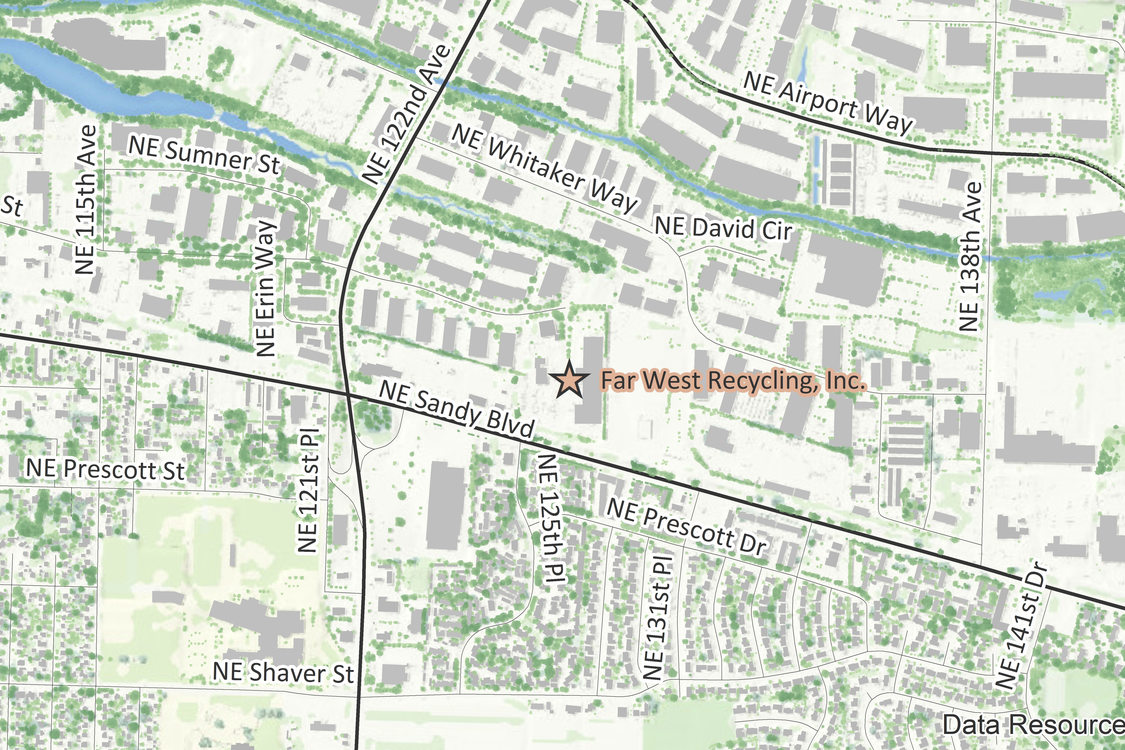 Location map of Far West Recycling Northeast Portland