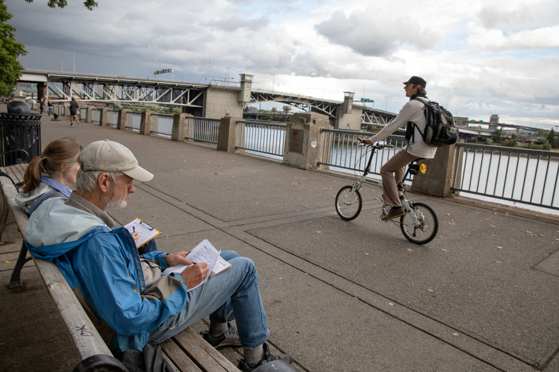 A bicyclist along the Tom McCall Waterfront Trail