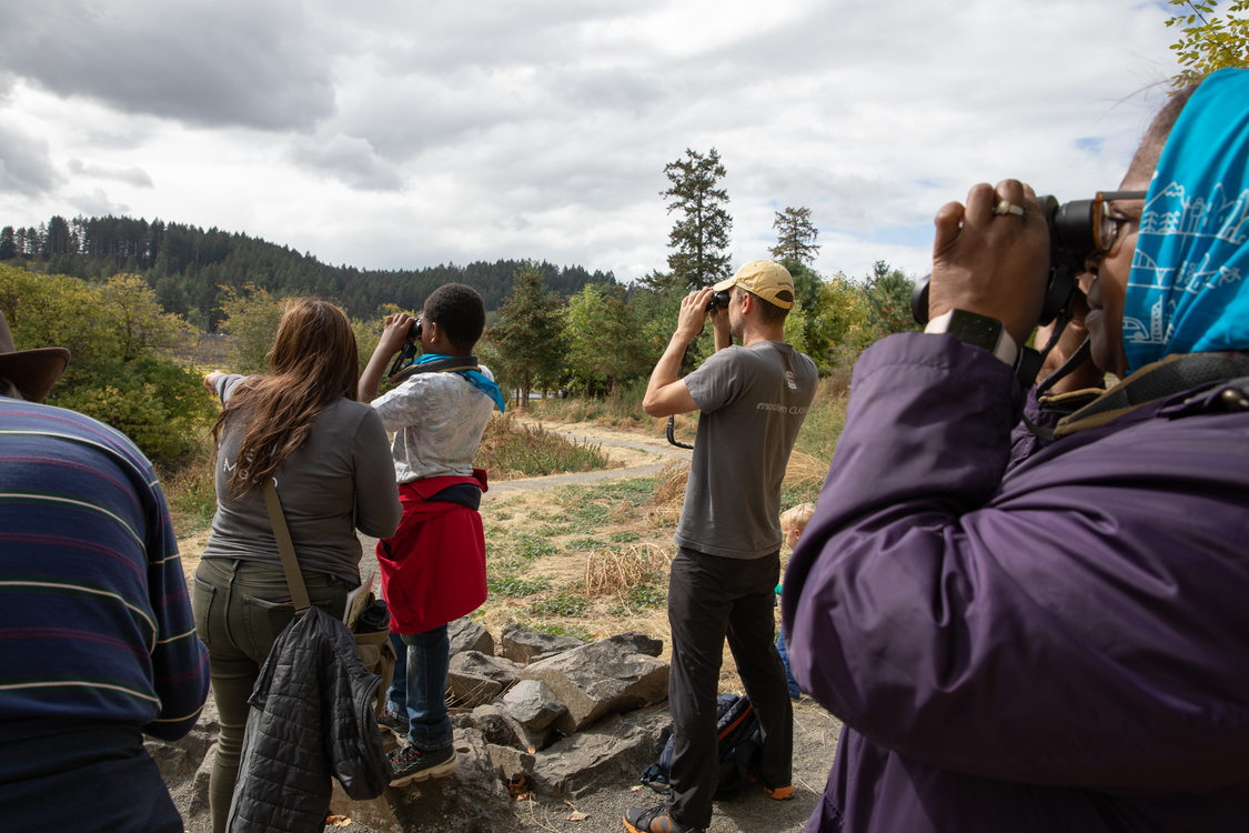 A group of visitors look at Killin Wetlands through binoculars.