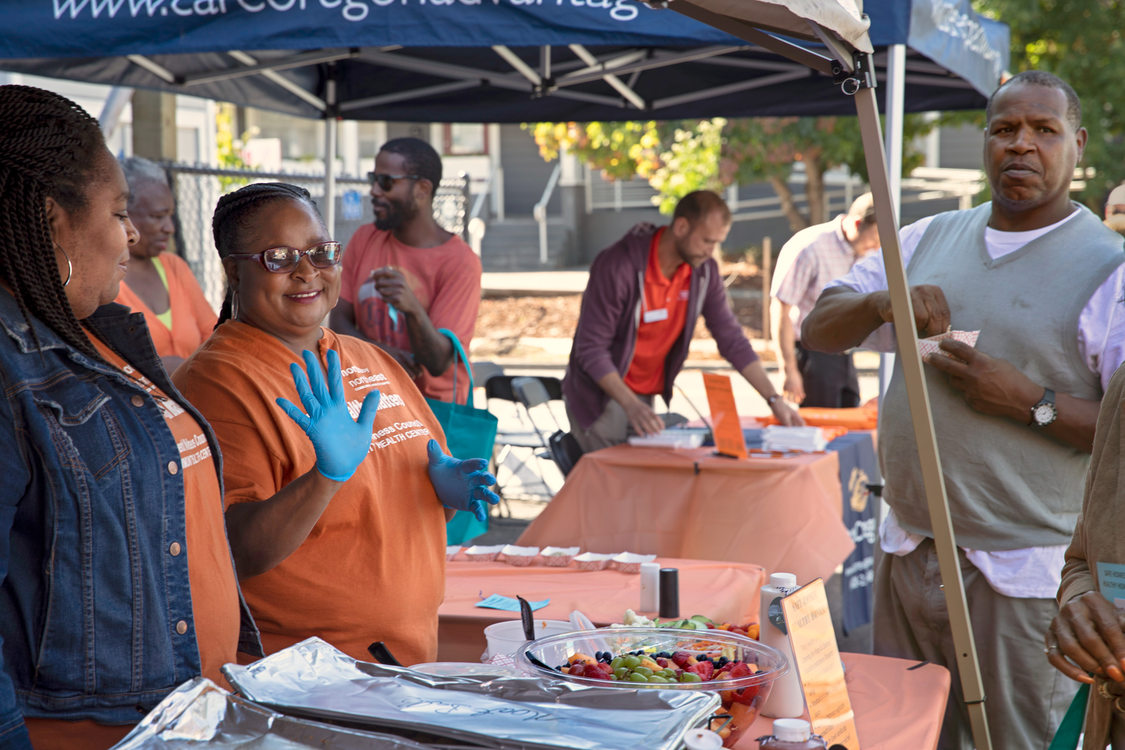 event hosts serve up free healthy food to attendees