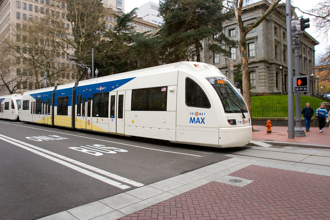 A MAX train on SW 5th Avenue in downtown Portland