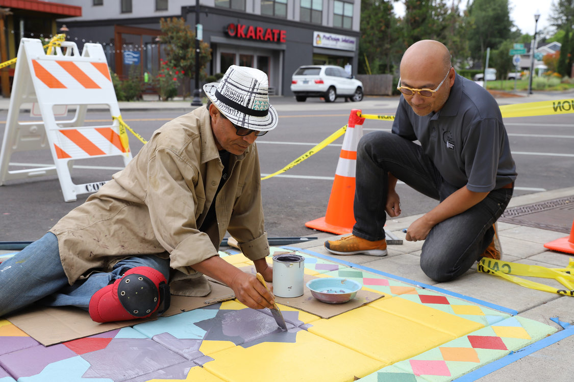 Multicultural stormwater murals in Washington County