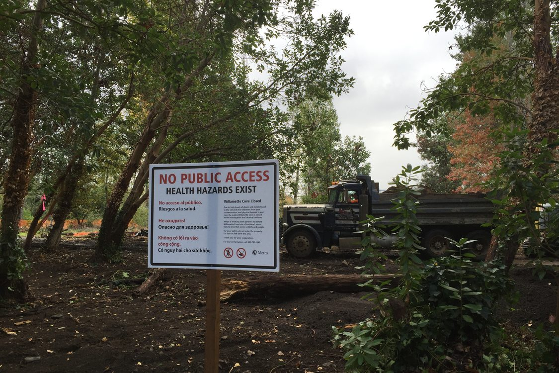 A sign reads 'No Public Access' at the Willamette Cove property