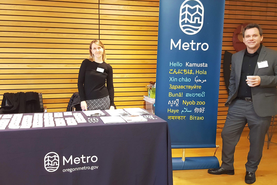 Metro employees at the entry of the launch party