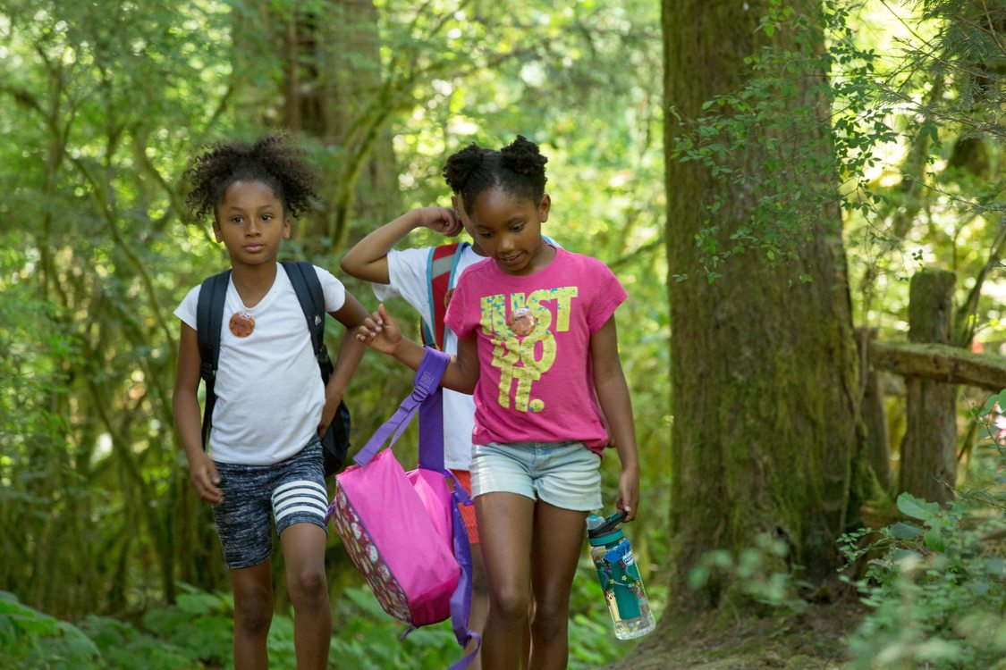 photo of Camp ELSO students at Oxbow Regional Park's ancient forest