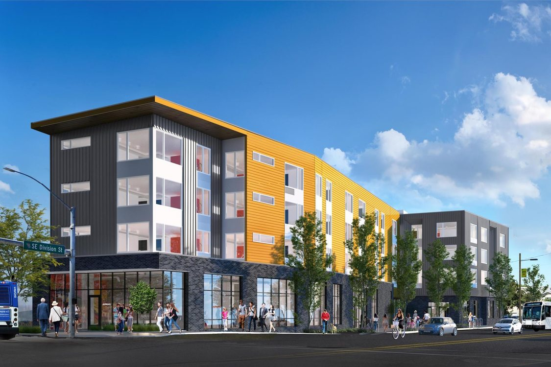 a rendering of a new apartment building at the corner of Southeast 82nd Avenue and Division Street