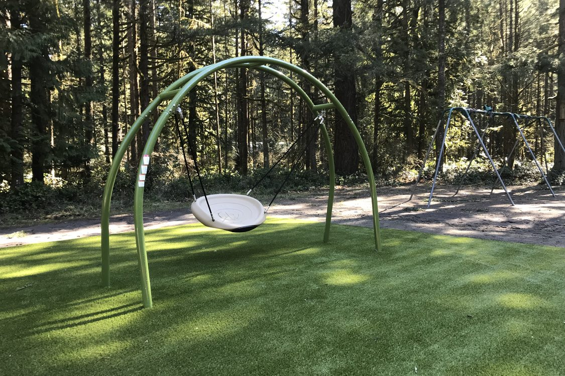 single swing on new nature play area