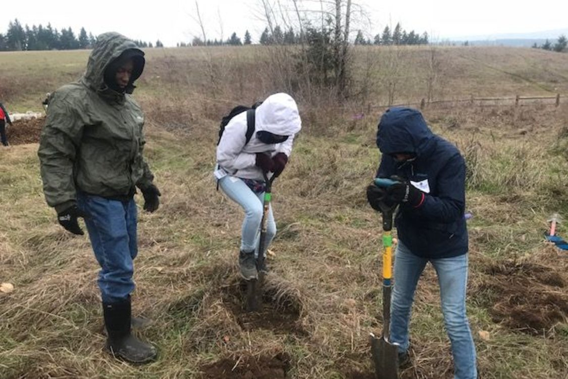 Three people are in a large open field with trees in the background wearing coats with their hoods up. Two youth are using shovels to dig holes for planting.