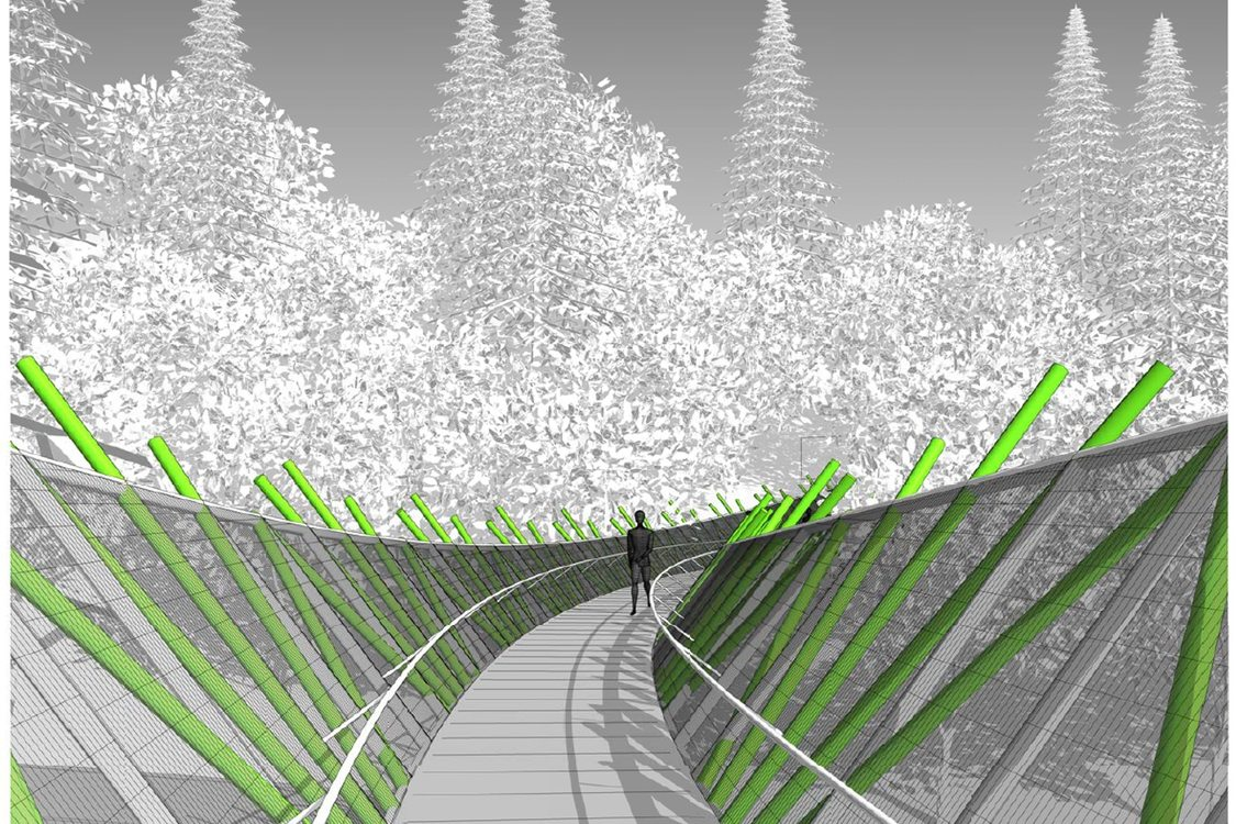 rendering of v-shaped bridge with person standing on bridge and forest in the background