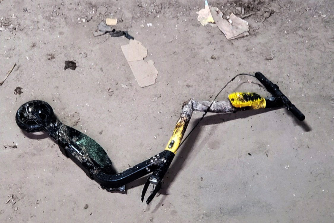 A close up look at the broken, mangled scooter that started a fire at Metro South transfer station