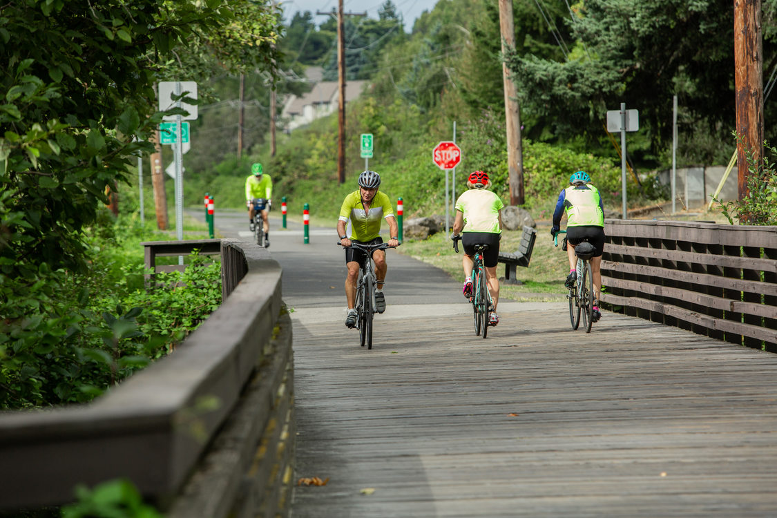 bicyclists on a trail in Gresham's Main City Park
