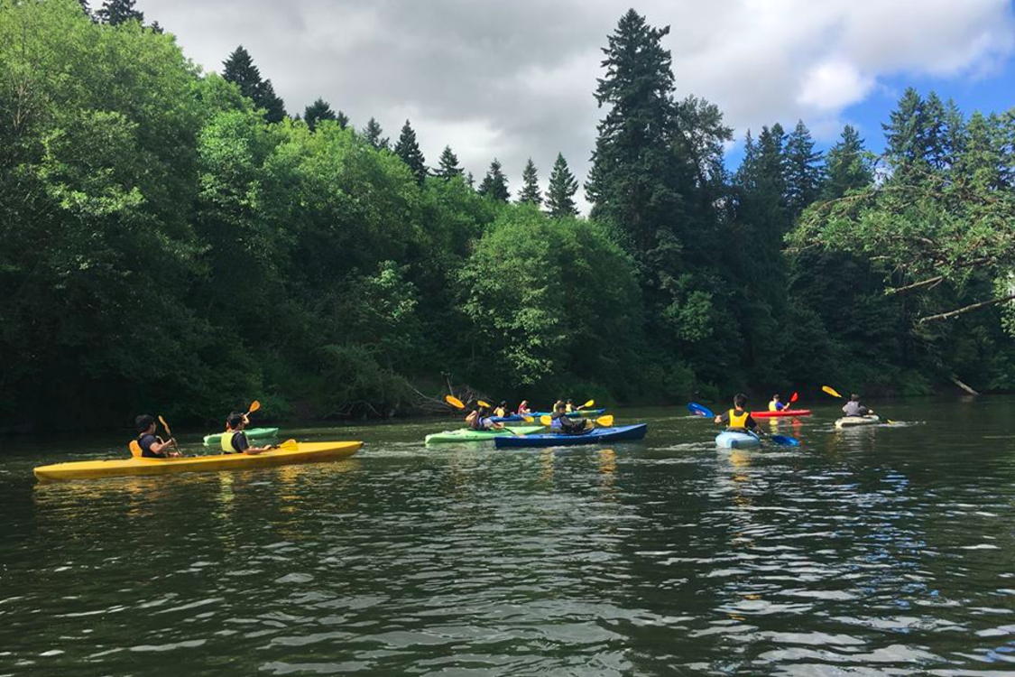 Five kayaks full of people float in the background of the image of a waterway surrounded by green trees and vegetation.