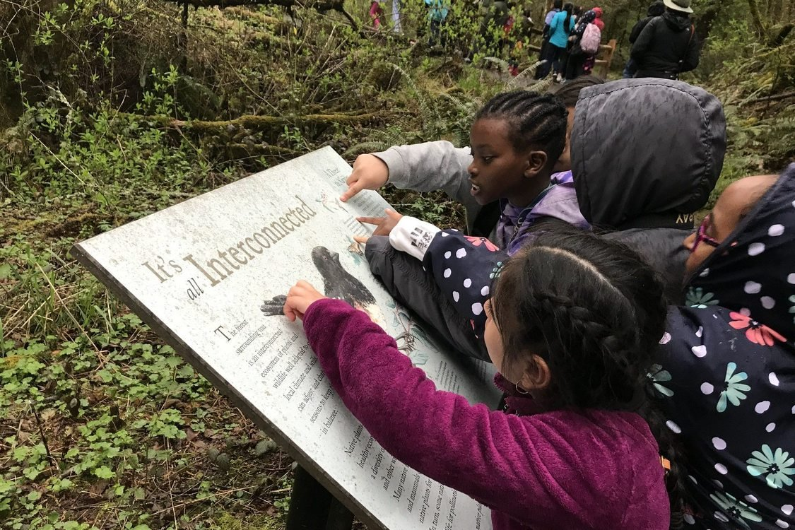 Five young children huddle together over an interpretive sign with a bird that says 'It's all interconnected'. They are in the woods and several people can be seen on the trail in the background.
