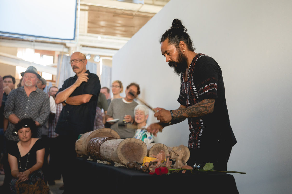 GLEAN artist Eduardo Cruz Torres at the opening of GLEAN 2018