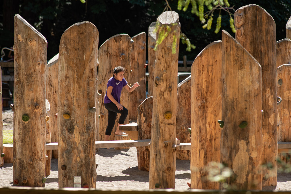 A child plays on the large wooden playground at Oxbow Regional Park. The playground was built to be accessible for children of a wide-range of abilities.