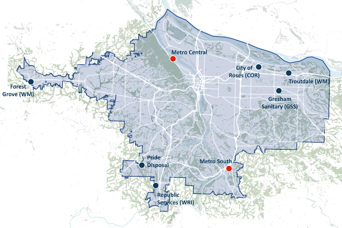 map of greater Portland showing locations of Metro transfer stations