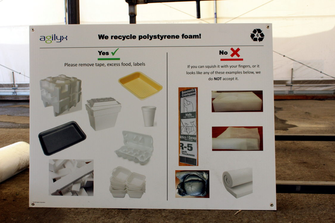 A sign at Metro South transfer station shows what kind of plastic foam can be recycled