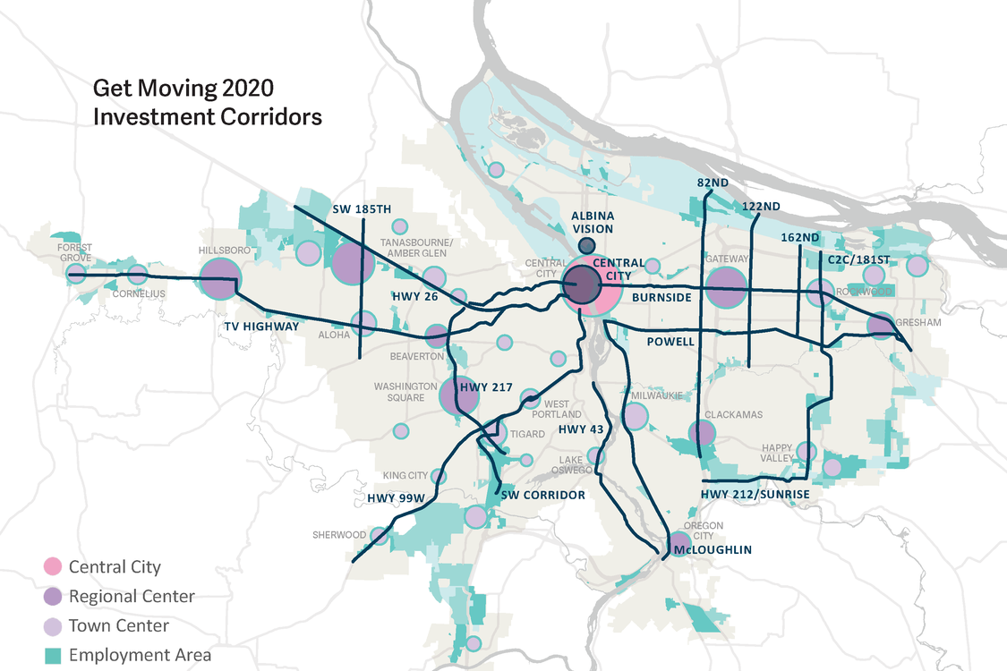 Map of proposed corridors for Get Moving 2020 mesaure