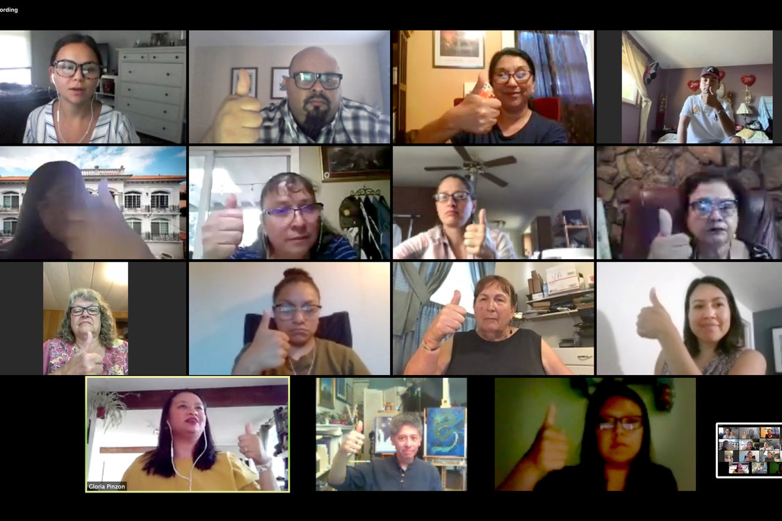 A screen shot shows participants of a community advisory committee