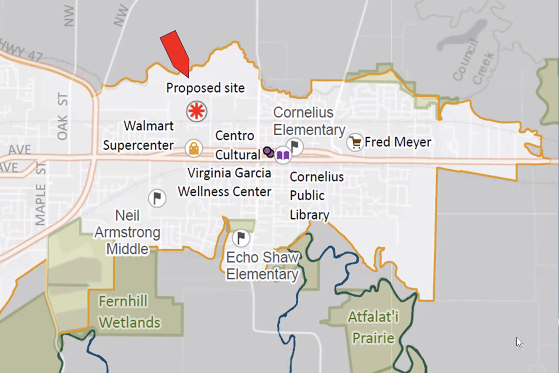 A map showing the proposed site for a new transfer center and it's proximity to  schools and shopping centers