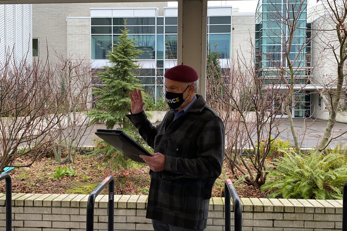 Metro Councilor for District 3, Gerritt Rosenthal is sworn in at Metro Regional Center, January 5, 2021