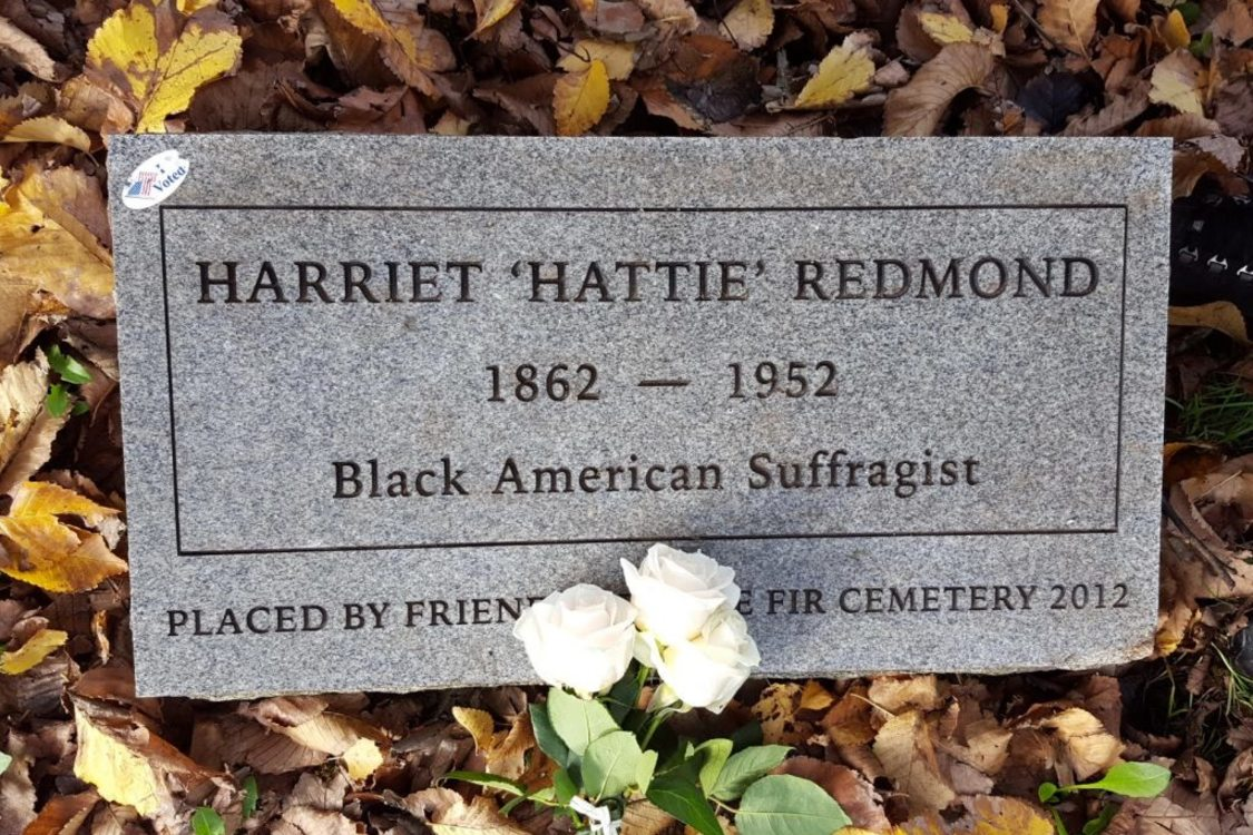 Hattie Redmond's headstone at Lone Fir Cemetery. The original headstone was lost. This headstone was place by Friends of Lone Fir Cemetery to honor Hattie on the 100th anniversary of Oregon women winning the right to vote.