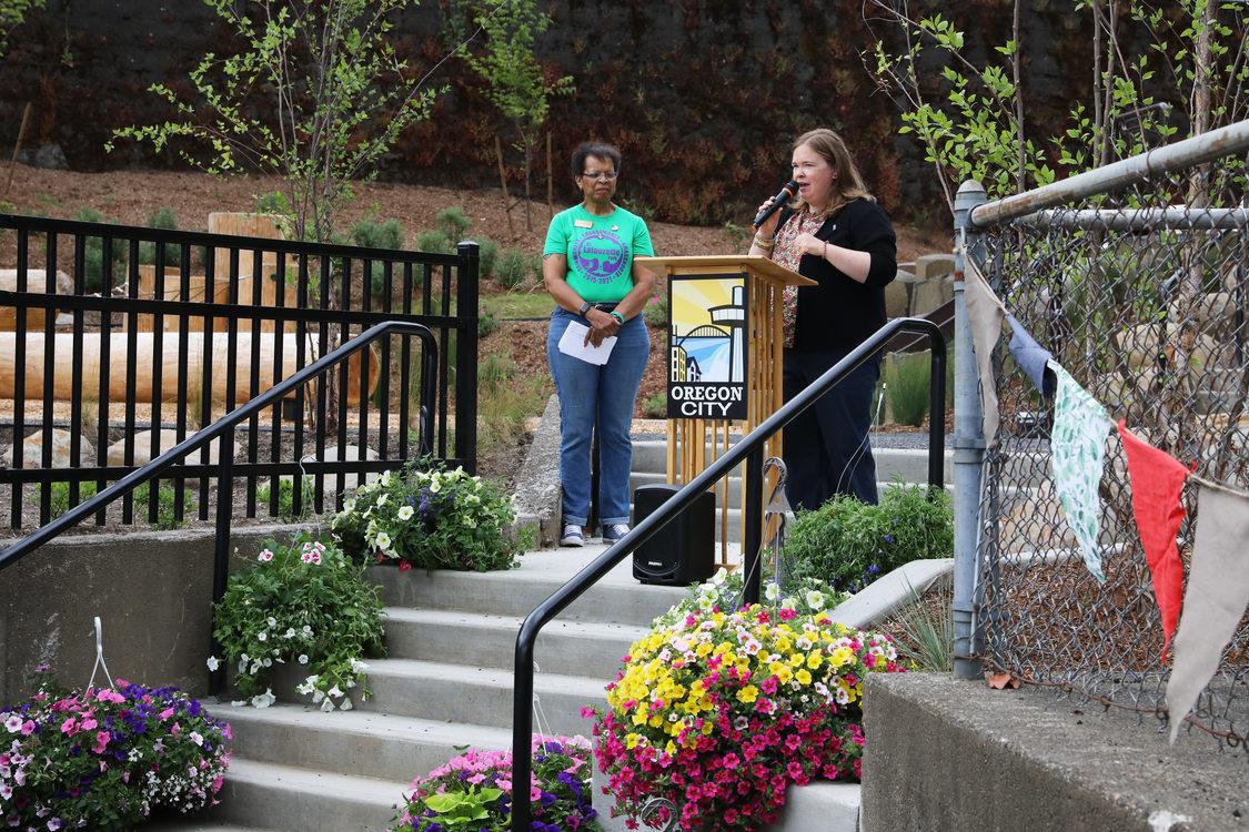 Metro Councilor Christine Lewis speaks at D.C. Latourette Park