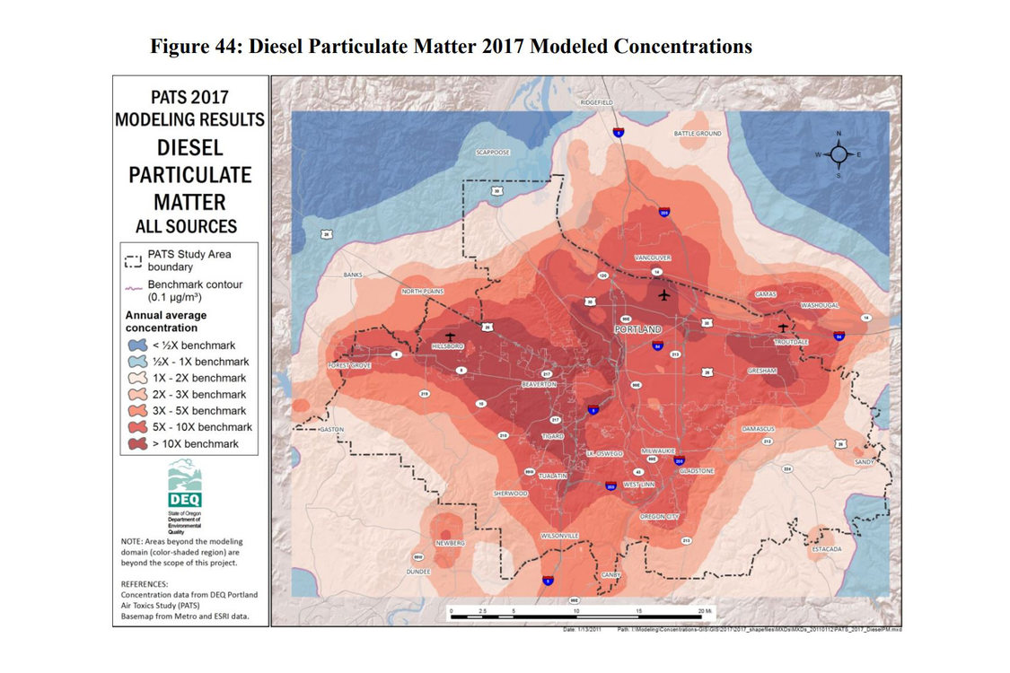 Map of diesel particulate matter concentrations in greater Portland