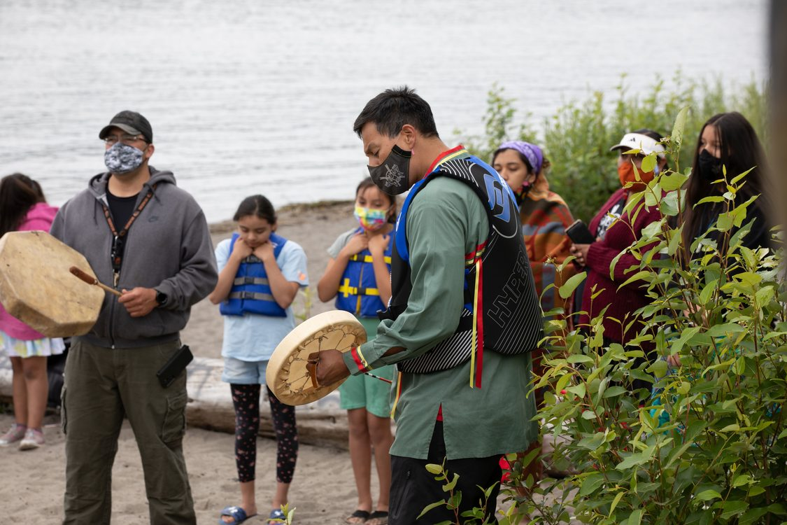Portland All Nations Canoe Family play music and gather at Chinook Landing along the Columbia River
