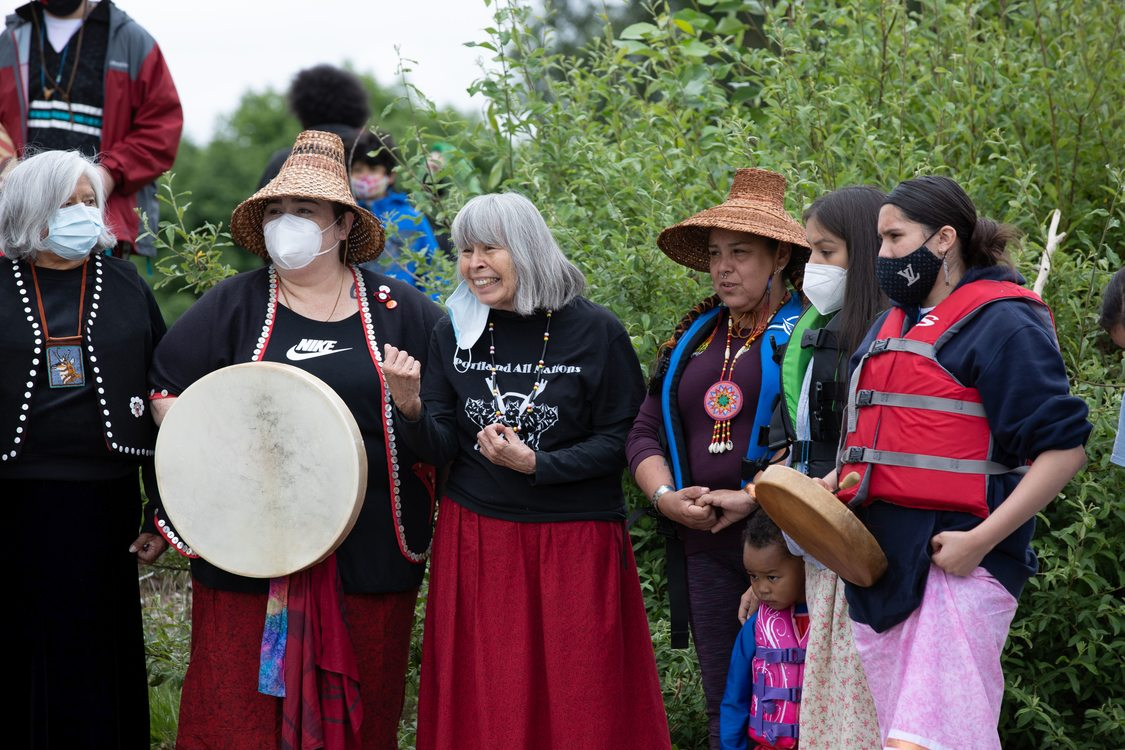 Portland All Nations Canoe Family gathered at Chinook Landing